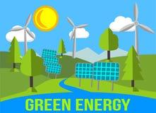 Paisagem verde da energia com energias renováveis - painéis solares e moinhos de vento Fotos de Stock