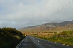 Paisagem verde da vegetação e da montanha em uma estrada nacional na Irlanda Imagens de Stock
