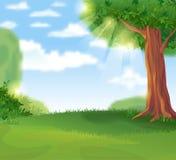 Paisagem verde no dia ensolarado do verão ilustração royalty free