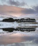 A paisagem vibrante do campo do inverno refletiu no wate calmo do lago Fotografia de Stock Royalty Free