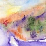 Paisagem violeta da floresta da madeira de pinhos das árvores da estrada da aquarela Fotos de Stock