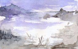 Paisagem violeta das montanhas do lago da noite da lua da aquarela Fotografia de Stock Royalty Free