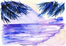 Paisagem violeta das palmas do por do sol da praia do oceano da aquarela Imagem de Stock Royalty Free