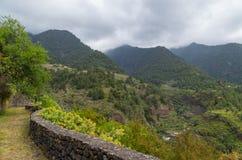 Paisagem vulcânica bonita da montanha no La Palma, Ilhas Canárias, Espanha Fotografia de Stock