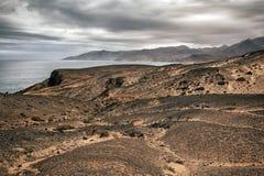 Paisagem vulcânica de Fuerteventura, Ilhas Canárias, Espanha Fotos de Stock