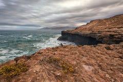 Paisagem vulcânica de Fuerteventura, Ilhas Canárias, Espanha Imagens de Stock