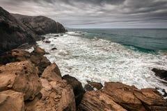Paisagem vulcânica de Fuerteventura, Ilhas Canárias, Espanha Imagens de Stock Royalty Free