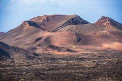 Paisagem vulcânica no parque nacional de Timanfaya, ilha de Lanzarote, Fotografia de Stock Royalty Free