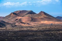 Paisagem vulcânica no parque nacional de Timanfaya, ilha de Lanzarote, Fotos de Stock