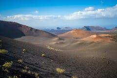 Paisagem vulcânica no parque nacional de Timanfaya, ilha de Lanzarote, Imagens de Stock