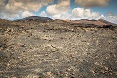 Paisagem vulcânica no parque nacional de Timanfaya, ilha de Lanzarote, Foto de Stock