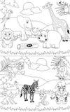 Paisagens africanas colorindo [1] Imagens de Stock Royalty Free