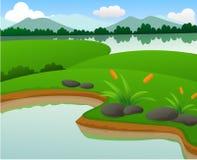 Paisagens bonitas da natureza da lagoa e do lago Ilustração Royalty Free