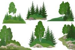 Paisagens com árvores e rochas Imagem de Stock Royalty Free