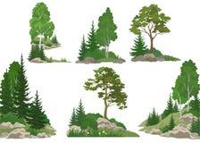 Paisagens com árvores e rochas Fotografia de Stock Royalty Free