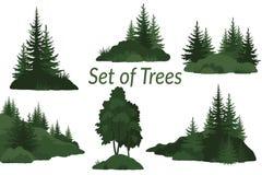 Paisagens com silhuetas das árvores Foto de Stock