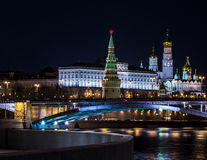 Paisagens da noite Moscou, Rússia, o Kremlin Fotos de Stock Royalty Free