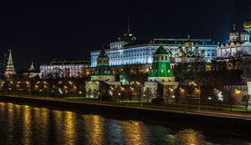 Paisagens da noite Moscou, Rússia, o Kremlin Imagens de Stock Royalty Free
