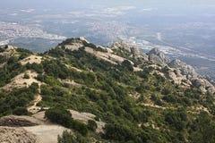 Paisagens de montanhas de Montserrats, Espanha fotografia de stock