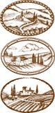 Paisagens de Toscânia ilustração do vetor