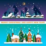 Paisagens do ano novo e do Natal Foto de Stock Royalty Free
