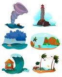 Paisagens do beira-mar ajustadas ilustração stock
