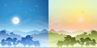 Paisagens do dia e da noite ilustração stock