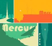 Cartazes retros da ficção científica do espaço Fotos de Stock Royalty Free