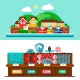 Paisagens do porto e mercado do marisco Fotos de Stock Royalty Free