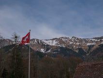 Paisagens suíças bonitas com os cumes da neve da bandeira fotografia de stock