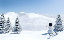 Paisaje ártico, campo de nieve con el muñeco de nieve y pájaros en día de fiesta de la Navidad, Polo Norte del pingüino foto de archivo