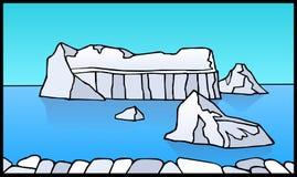 Paisaje ártico con los icebergs y las masas de hielo flotante