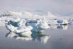 Paisaje ártico, hielo en el agua Foto de archivo libre de regalías