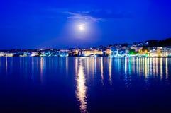 Paisaje épico de la noche de la Luna Llena Imagenes de archivo