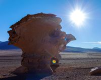 Paisaje único del desierto de Siloli con la piedra Tree Arbol de Piedra en el valle de rocas, Bolivia foto de archivo