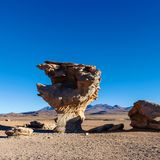 Paisaje único del desierto de Siloli con la piedra Tree Arbol de Piedra en el valle de rocas, Bolivia fotografía de archivo libre de regalías