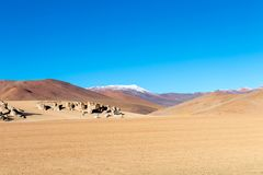 Paisaje único del desierto de Siloli con la piedra Tree Arbol de Piedra en el valle de rocas, Bolivia imagen de archivo