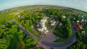 Paisaje aéreo de la escena rural en Rusia central el verano almacen de metraje de vídeo