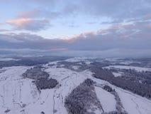Paisaje aéreo del invierno Foto de archivo