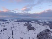 Paisaje aéreo del invierno Fotos de archivo libres de regalías