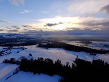 Paisaje aéreo del invierno Imagenes de archivo