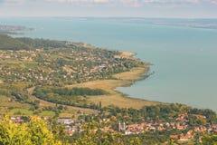 Paisaje aéreo para un lago Balatón en Hungría imágenes de archivo libres de regalías