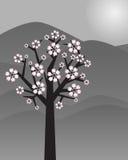 Paisaje abstracto con el árbol - vector Foto de archivo libre de regalías