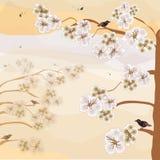 Paisaje abstracto con la cereza floreciente, pájaros, cielo en colores en colores pastel de la sepia Foto de archivo libre de regalías