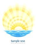Paisaje abstracto con las ondas del mar y el sol de levantamiento ilustración del vector