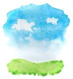 Paisaje abstracto de la acuarela con la hierba y las nubes Fotos de archivo