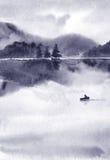 Paisaje abstracto de la acuarela, lago en tiempo tranquilo en la puesta del sol Imagenes de archivo