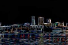 Paisaje abstracto de la ciudad de la noche que brilla intensamente con la luz de neón fotografía de archivo