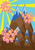 Paisaje abstracto de la montaña y ramificaciones rosadas Fotos de archivo