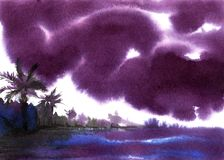 Paisaje abstracto Nubes tempestuosas oscuras sobre el ejemplo exhausto de la acuarela de la mano tropical de la costa en un papel stock de ilustración